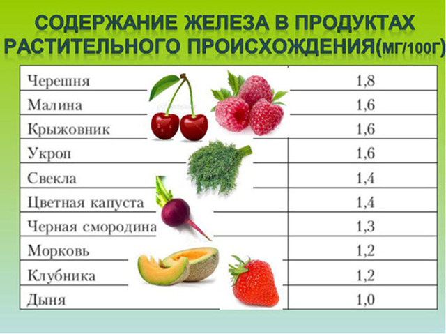 Продукты богатые железом при анемии